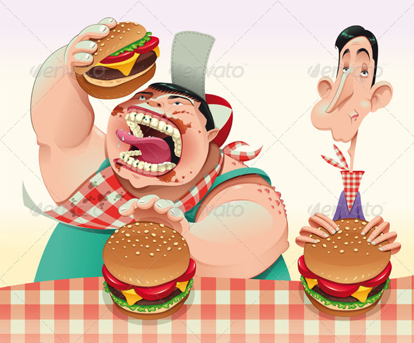 Guys with hamburgers. - Food Objects