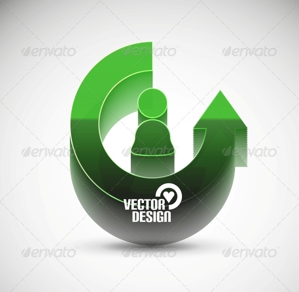 Vector 3D Glossy Arrow Circle Concept - Web Technology