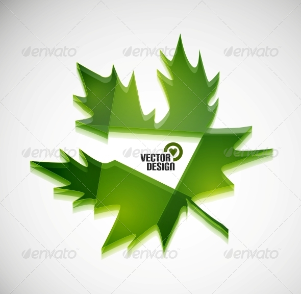 Vector 3D Green Glossy Leaf - Web Technology