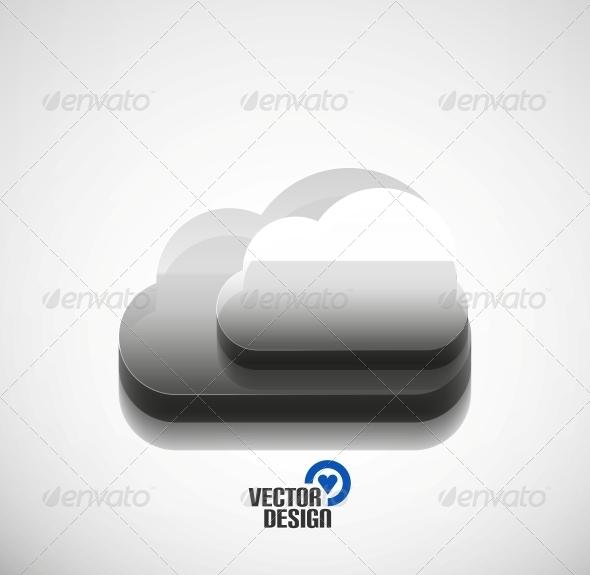 3D Cloud Computing Concept Icon - Web Technology