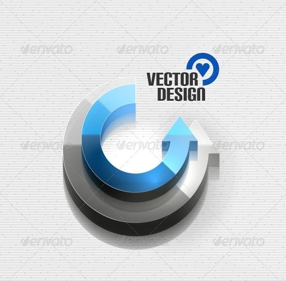 3D Glossy Arrow Circle Concept - Web Technology