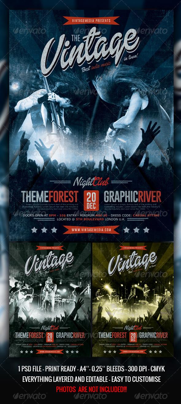 Indierock / Vintage Concert Flyer / Poster - Concerts Events