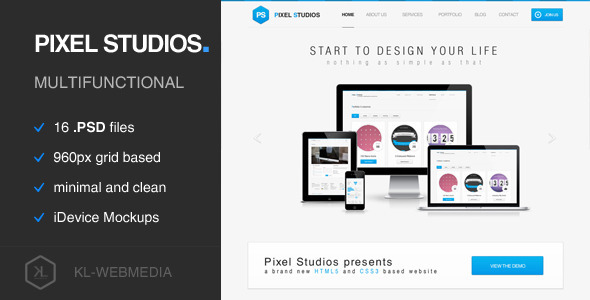 Pixel Studios – Simple PSD Template