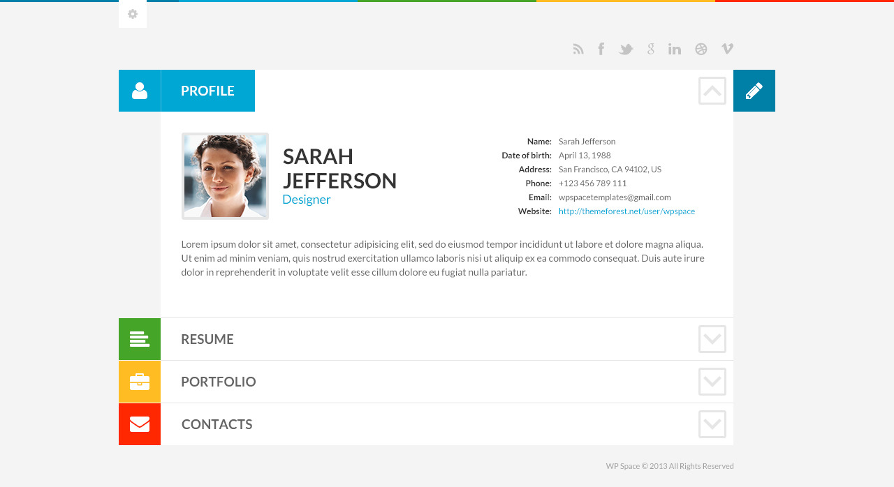 shiftcv blog resume portfolio - Wordpress Resume Template