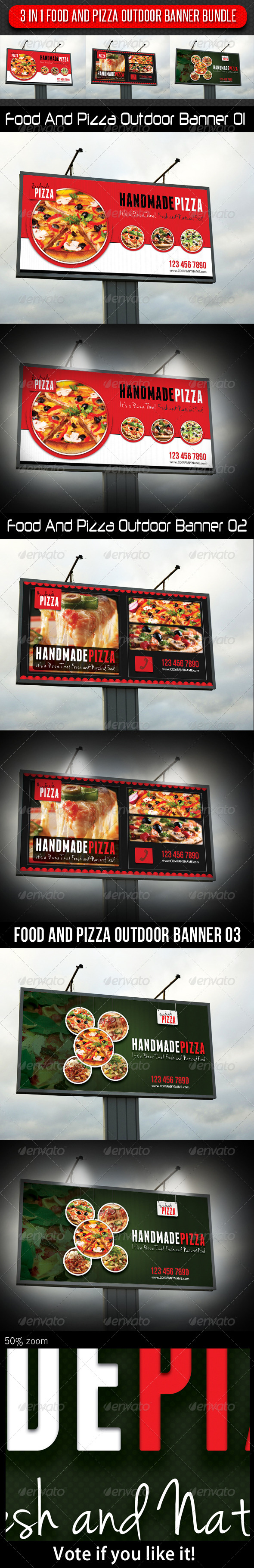 3 in 1 Food And Pizza Outdoor Banner Bundle - Signage Print Templates