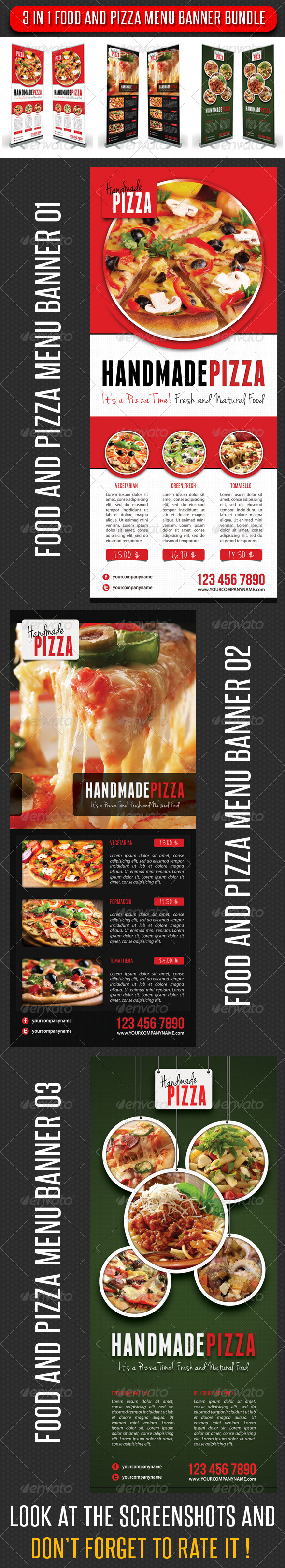 3 in 1 Food And Pizza Menu Banner Bundle - Signage Print Templates