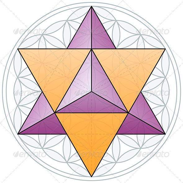 Merkaba and Flower of Life - Decorative Symbols Decorative