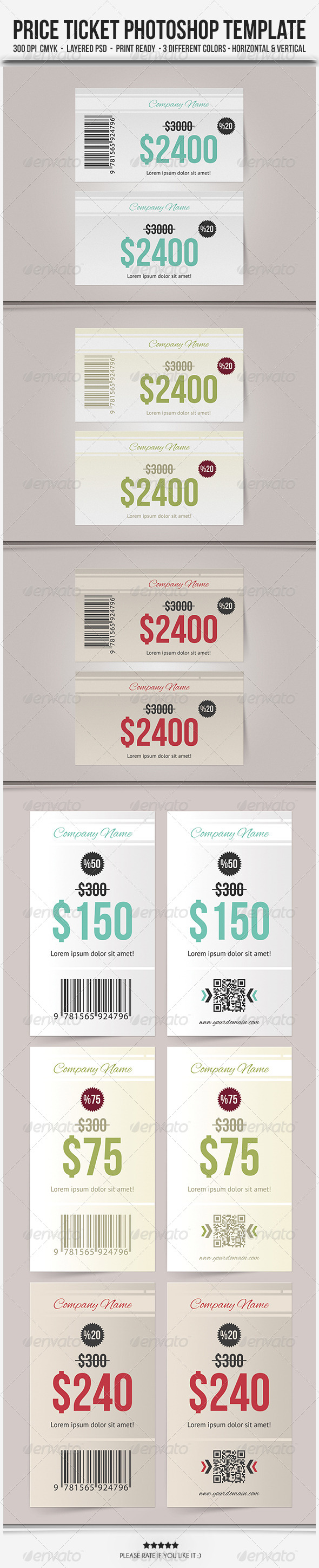 Price Ticket - Photoshop Template - Cards & Invites Print Templates