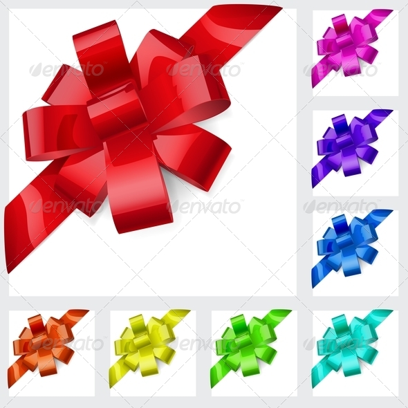 Multicolored Bows of Ribbons - Decorative Symbols Decorative