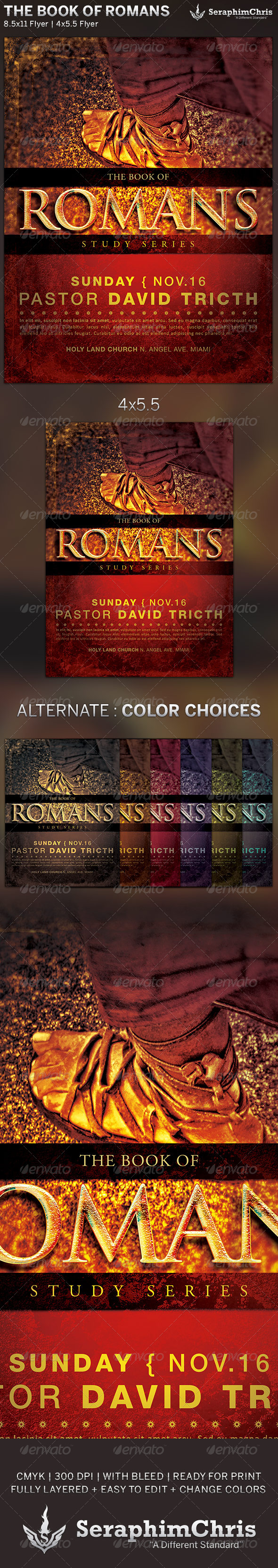 The Book of Romans: Church Flyer Template - Church Flyers