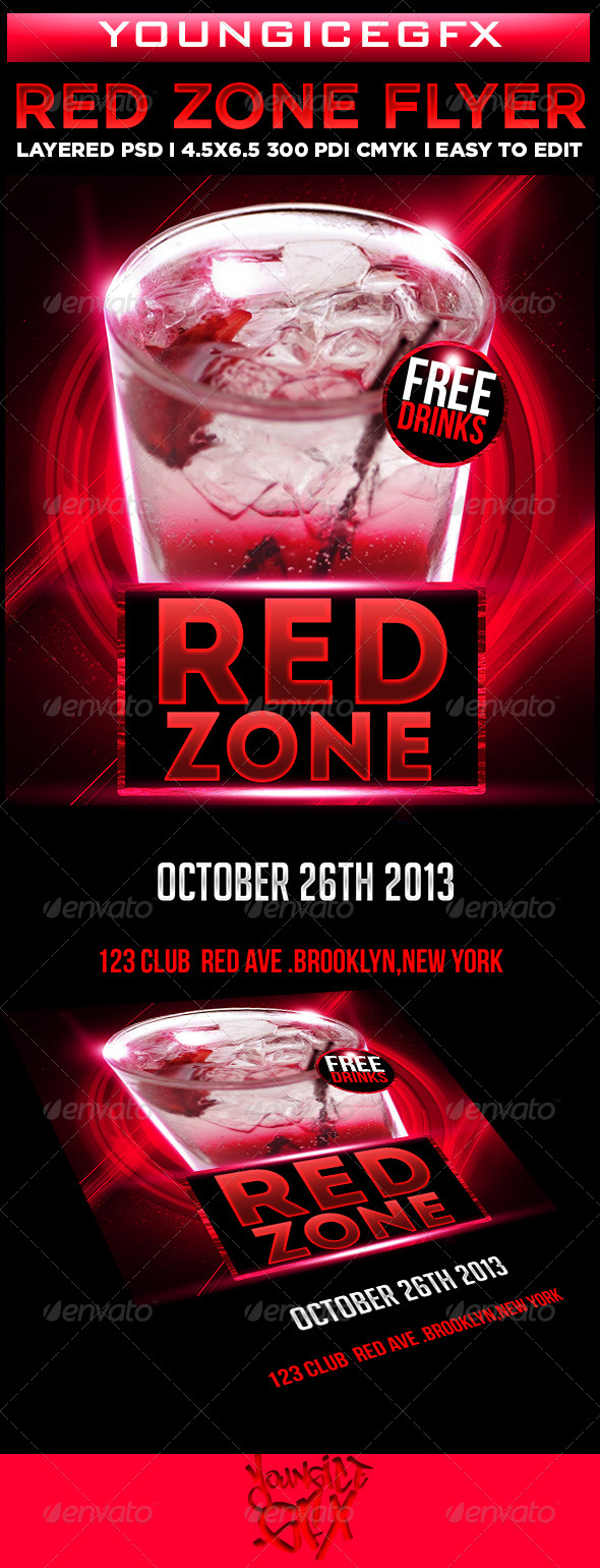Red Zone Flyer Template - Clubs & Parties Events
