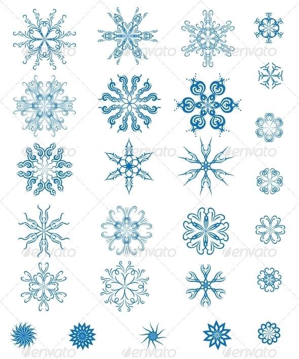 Set of Blue Snowflakes - Seasons Nature