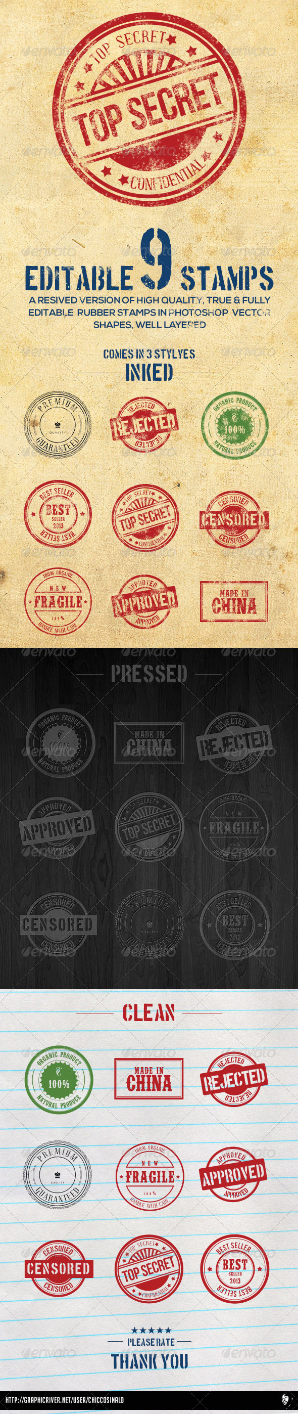 9 Editable Photoshop Rubber Stamps - Badges & Stickers Web Elements