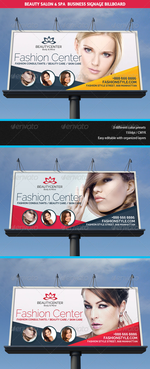 Beauty Center & Spa Business Billboard - Signage Print Templates