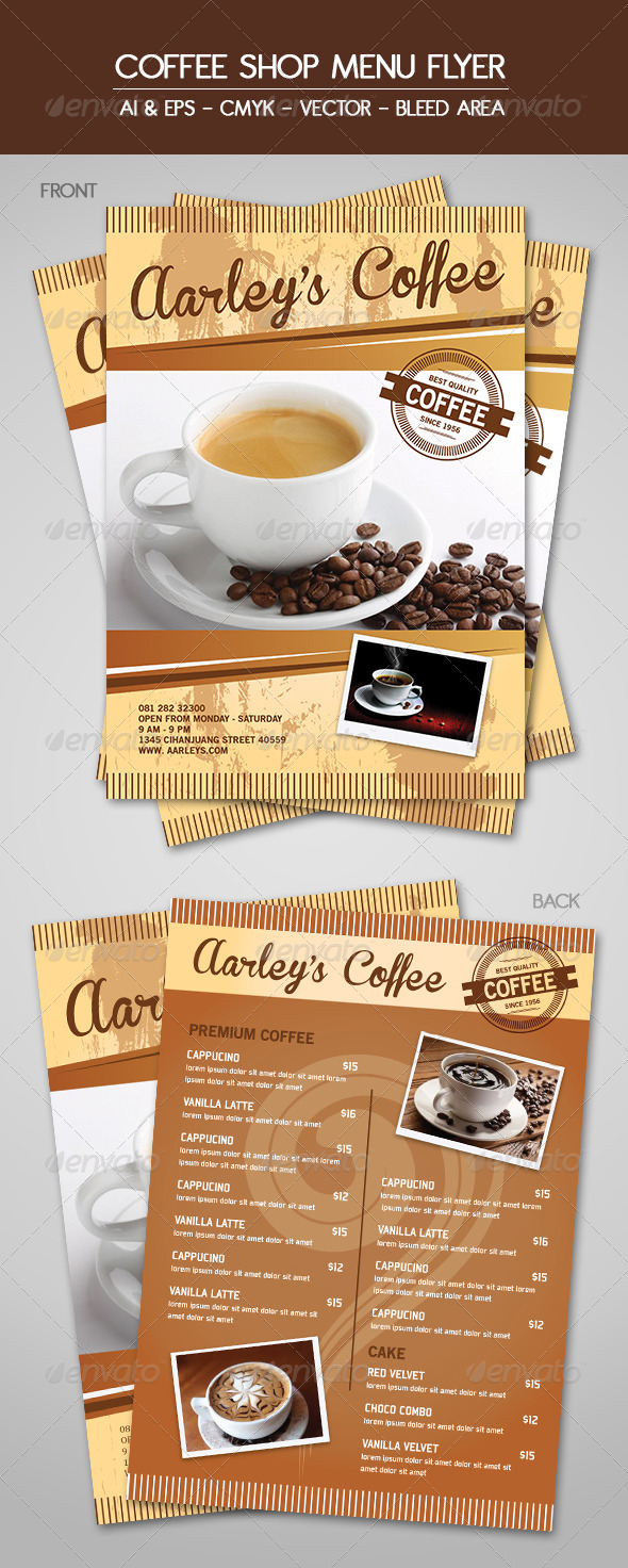 Coffee Menu Flyer - Food Menus Print Templates
