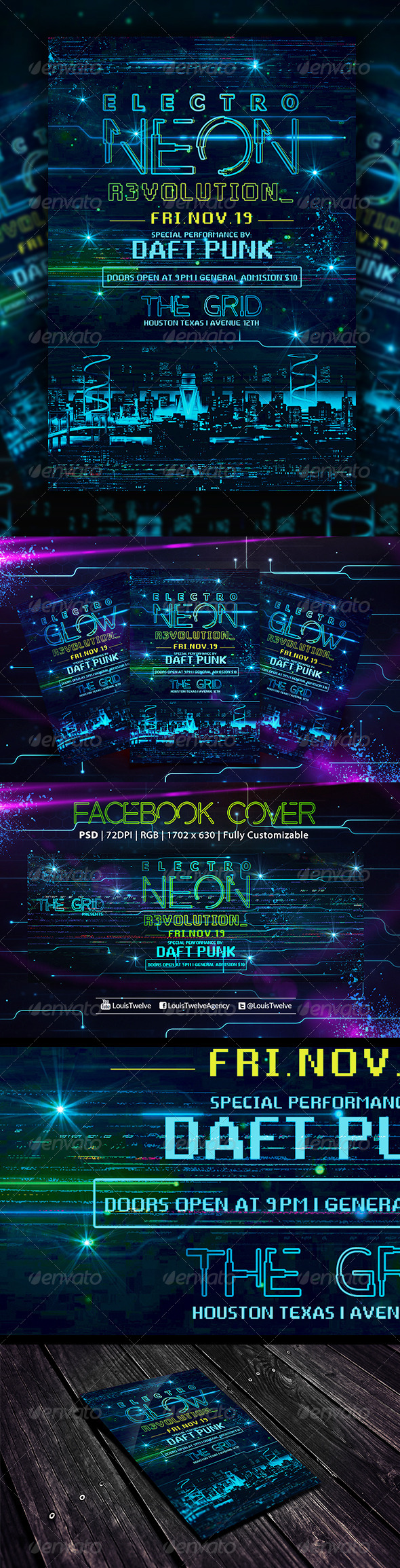 Electro Neon | Flyer + Fb Cover - Events Flyers