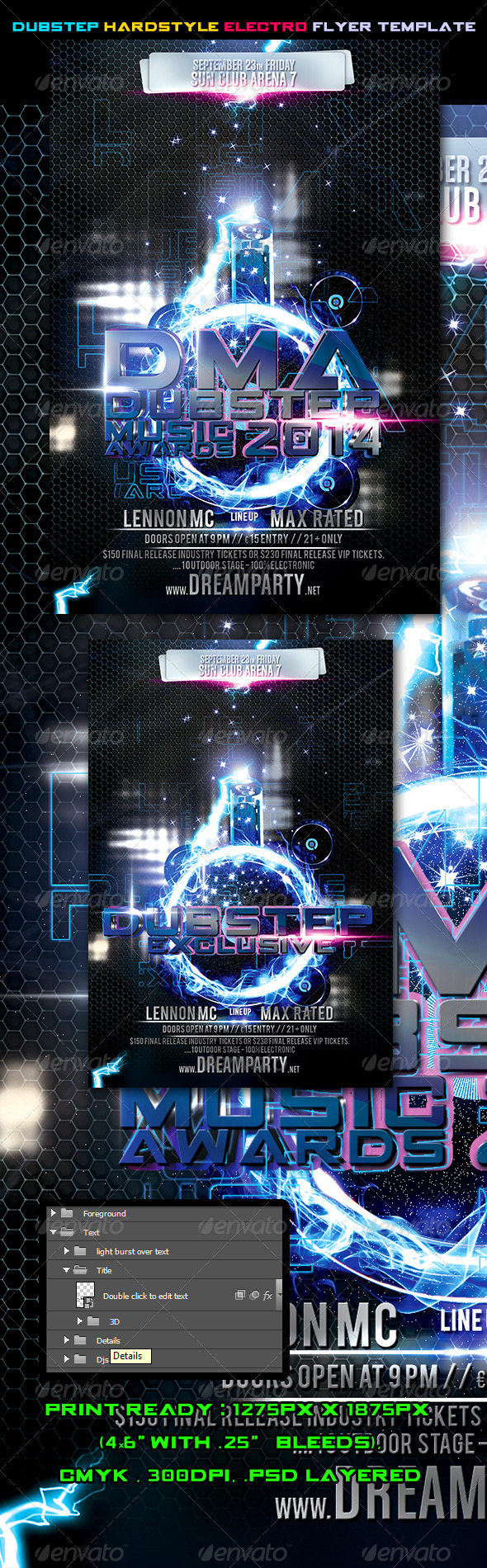 Dubstep Hardstyle Electro Flyer Template Vol.2 - Events Flyers