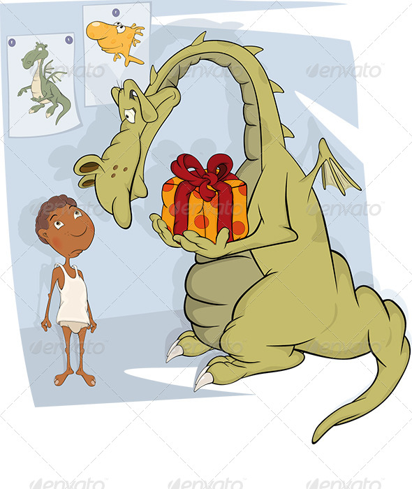 The Boy and Dragon Cartoon  - Birthdays Seasons/Holidays