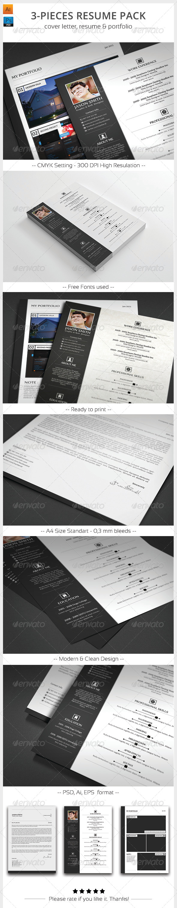 3-Pieces Resume Pack - Resumes Stationery