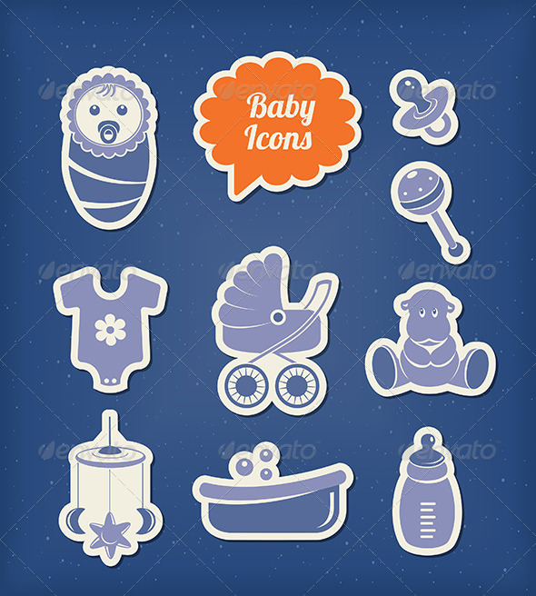 Baby Icons Paper Cut Style - Man-made objects Objects