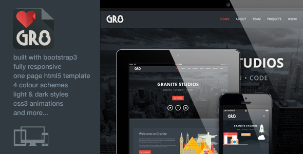 Granite – One Page Responsive Bootstrap3 Template