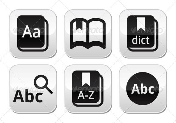 Dictionary Book Vector Buttons Set - Web Elements Vectors