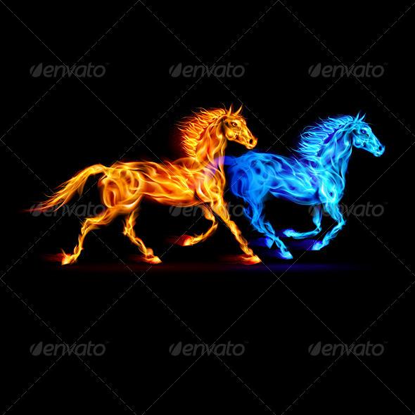 Fire Horses. - Decorative Symbols Decorative