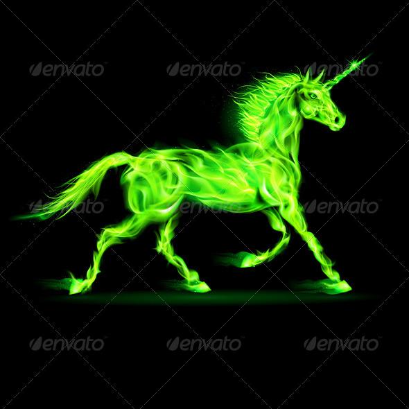 Green Fire Unicorn - Decorative Symbols Decorative
