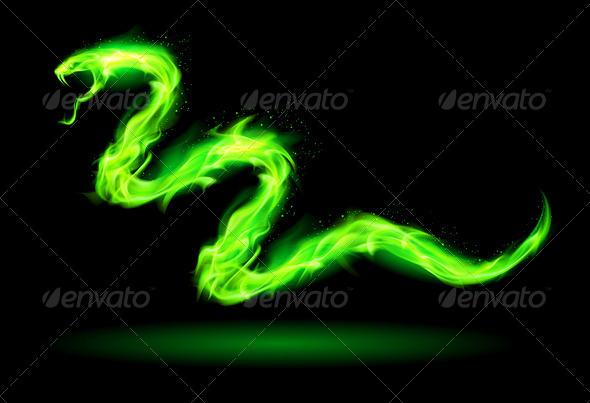 Green Fire Snake. - Decorative Symbols Decorative