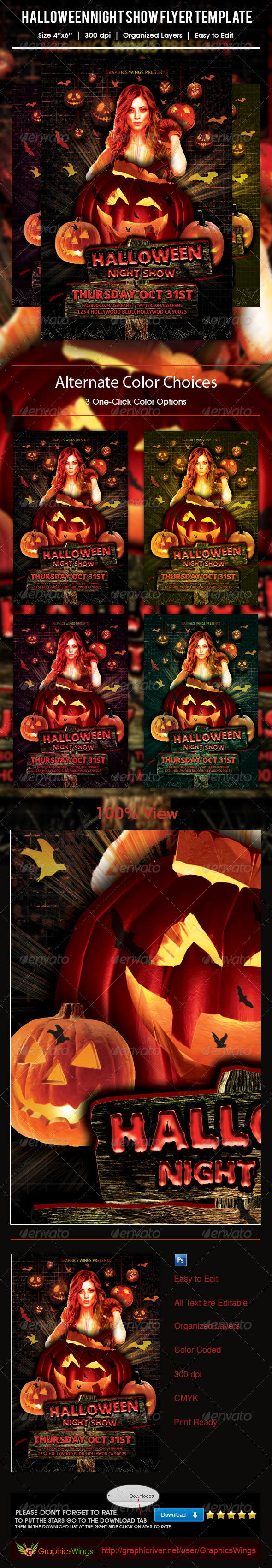 Halloween Night Show Flyer Template - Events Flyers