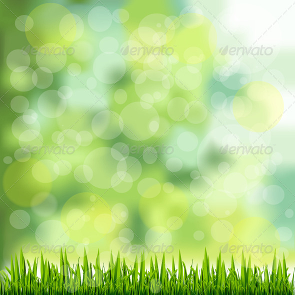 Grass Border on Natural Green Background - Backgrounds Decorative