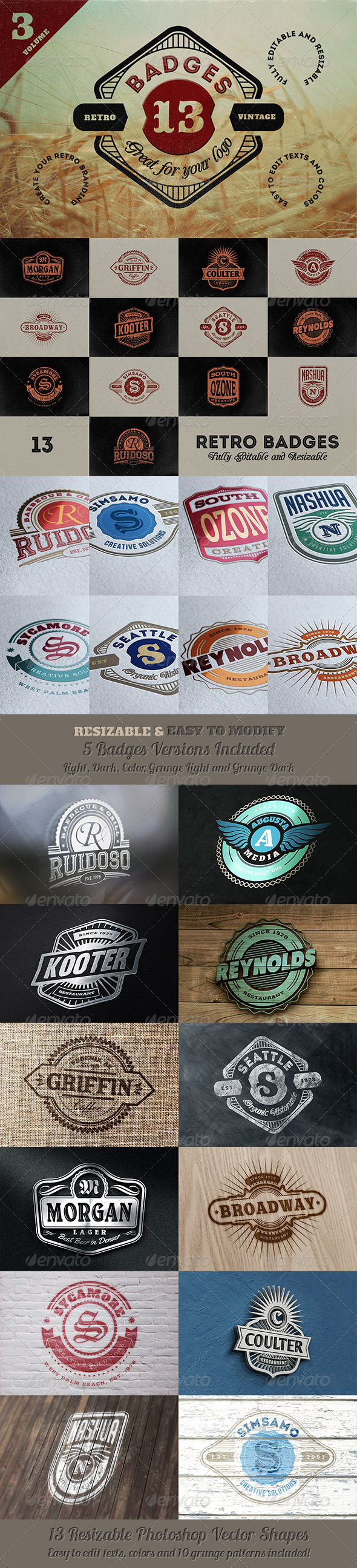 13 Retro Signs or Badges v.3 - Badges & Stickers Web Elements