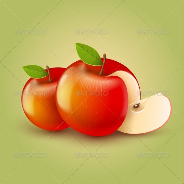 Red Apples with Cut - Miscellaneous Vectors