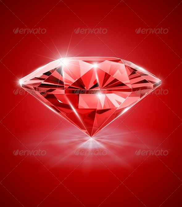 Diamond on Red Background - Man-made Objects Objects