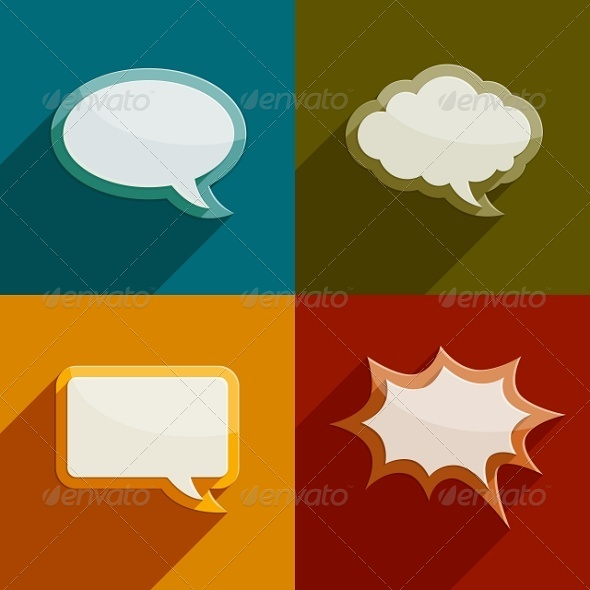 Speech Bubble Clouds Kit for Messages - Web Elements Vectors
