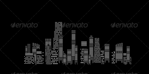 City Silhouette on Black Background - Miscellaneous Vectors