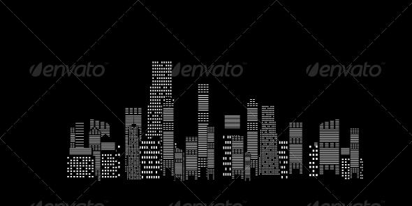 City Silhouette on Black Background - Miscellaneous Vectors