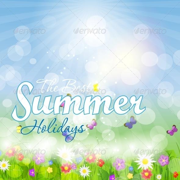 Summer Holidays Vector Background. - Landscapes Nature