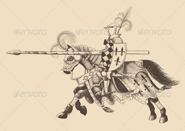 Horseback Knight of the Tournament - Characters Vectors
