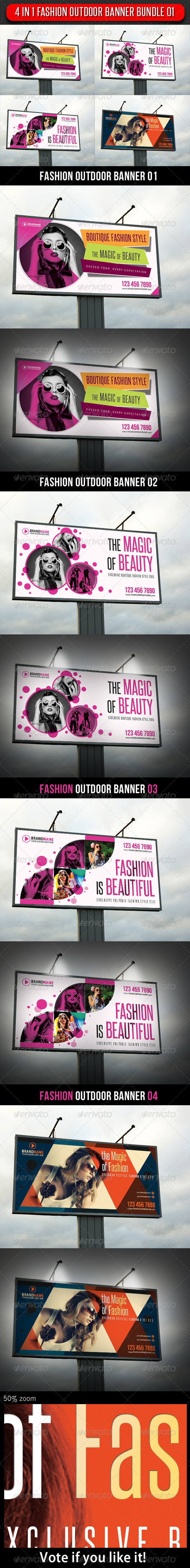 4 in 1 Fashion Outdoor Banner Bundle 01 - Signage Print Templates