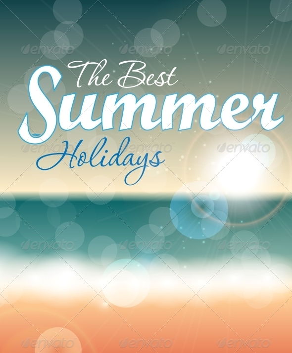 Summer Holidays Vector Background - Landscapes Nature