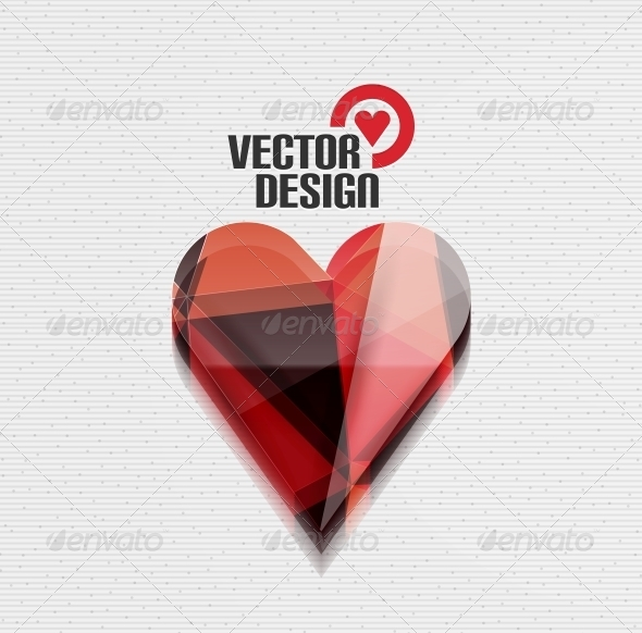 Vector 3D Glossy Heart Vector Background - Valentines Seasons/Holidays