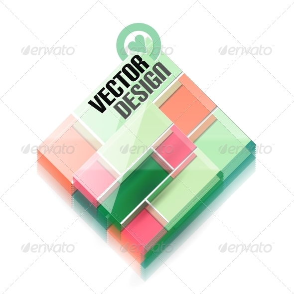 Vector 3D Glass Shape for Business Template - Computers Technology