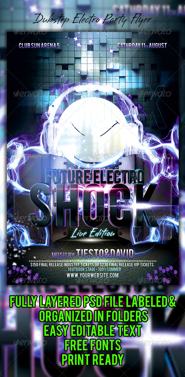 Dubstep Electro Party Flyer - Events Flyers