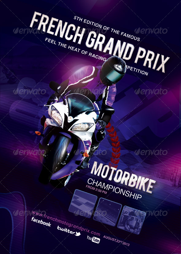 Flyer Poster French Grand Prix Moto Race - Sports Events