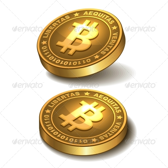 Bitcoins Isolated on White - Services Commercial / Shopping