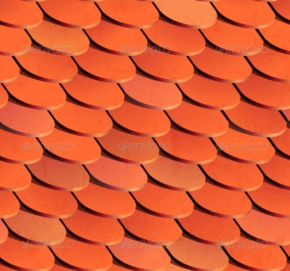 Seamless Roof Tiles. Vector Background. - Man-made Objects Objects