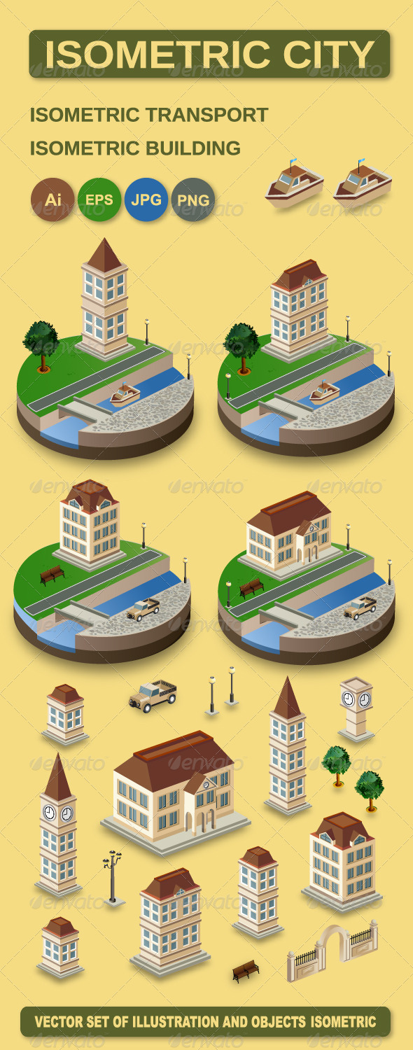 Vector Isometric City - Buildings Objects