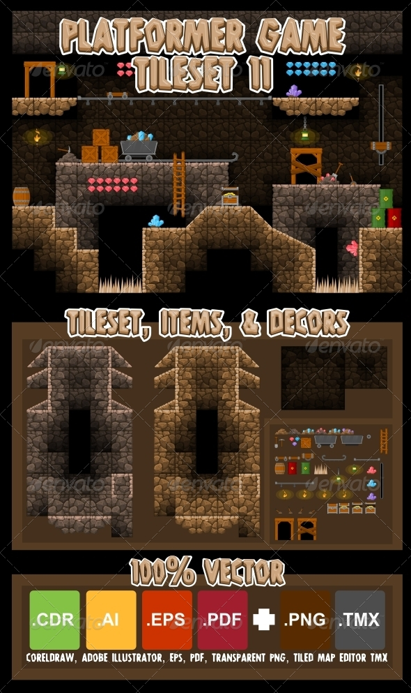 Platformer Game Tile Set 11 - Tilesets Game Assets