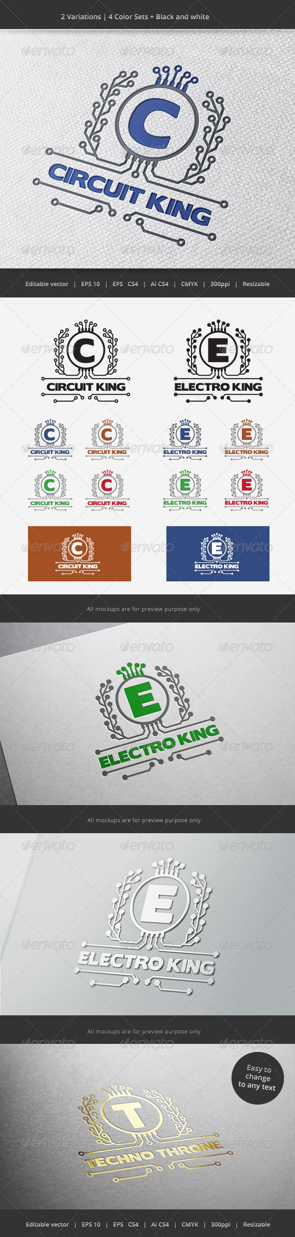 Electronic King Crest Logo - Crests Logo Templates